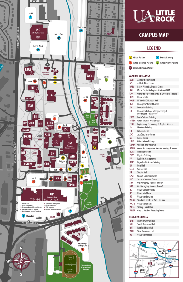 Our Campus | About us | University of Arkansas at Little Rock on irsc campus map, fsu campus map, jacksonville state campus map, miami campus map, unf campus map, usc campus map, barry campus map, university of florida campus map, nevada campus map, army campus map, broward college campus map, usf campus map, hawaii campus map, uf campus map, charlotte campus map, ole miss campus map, clemson campus map, florida a&m campus map, florida international university campus map, eastern florida state college campus map,