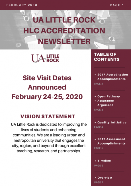 Download and Print HLC Accreditation Newsletter - Feb. 2018