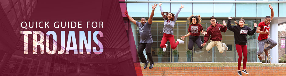 """Text that says, """"Quick Guide for Trojans,"""" overlaid on a photo of six happy students jumping in the air in front of the Student Services Center."""
