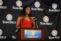 Women's basketball player, Ronjanae Degray, winning Female Athlete of the Year at the Sun Belt Awards Banquet in 2019.