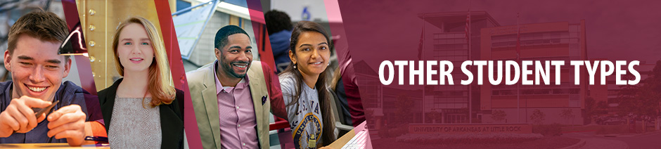 "Four photos of smiling students in different fields of study: metal-smithing and jewelry, political science, applied science, and graphic design. Overlaid text reads, ""Other Student Types."""