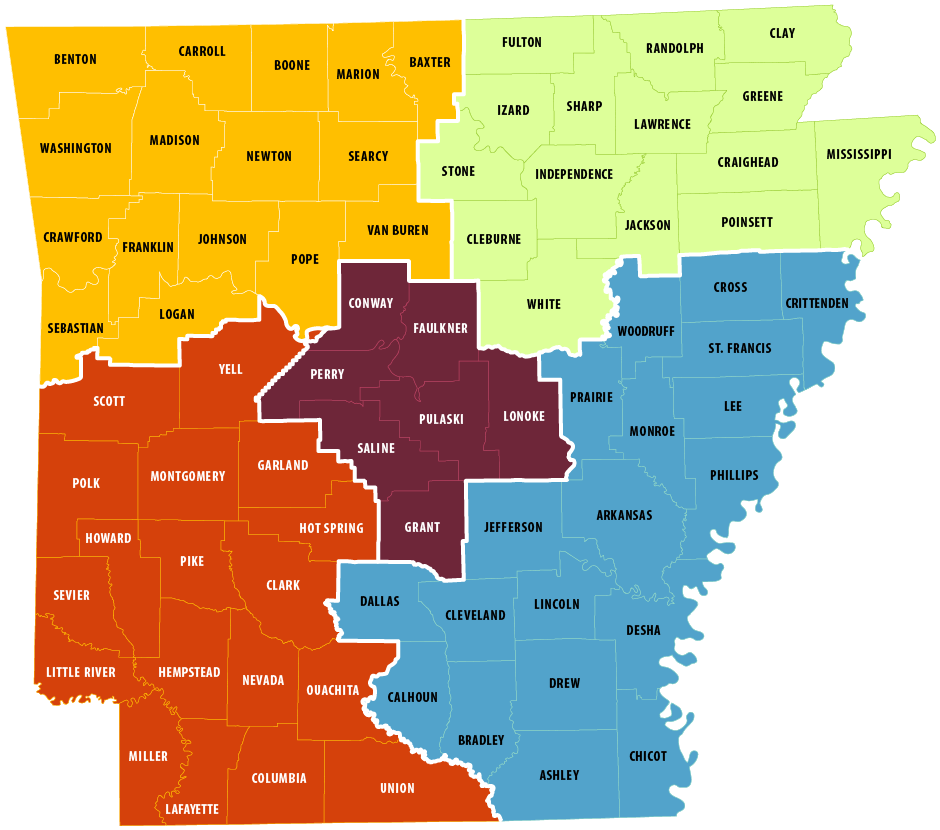 Map of counties in Arkansas, color-coded to match their respective recruiters.