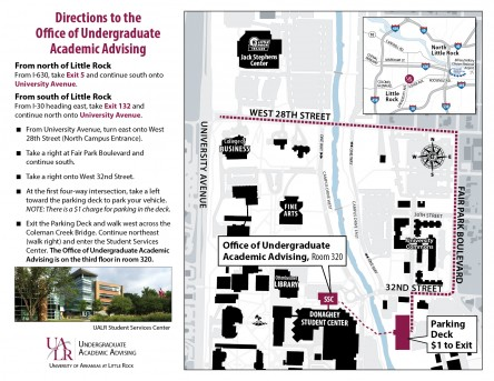 Map To UALR academic advising office