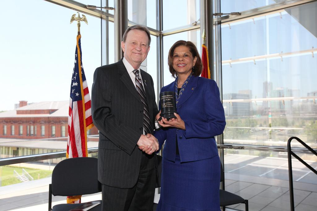 UALR Chancellor, Joel E. Anderson; 2012 Distinguished Alumnus, Brenda Donald '93