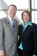 UALR Chancellor Dr. Joel E. Anderson and Distinguished Alumna Julie Adams