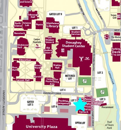 Map of UALR Campus indicating the Department of Applied Communication is on the 2nd floor of the Speech Building. The office is in room 237.