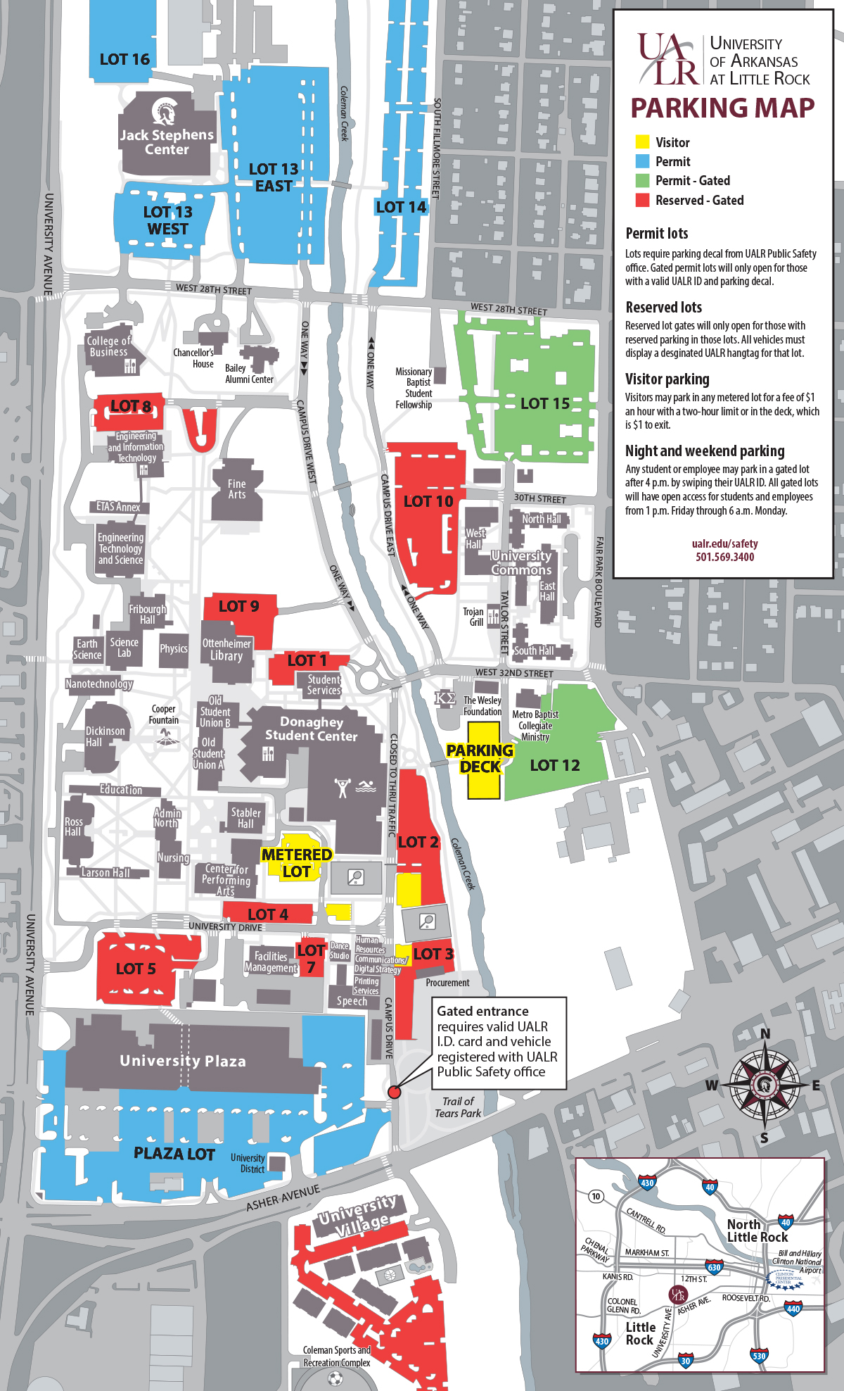 Ualr Campus Map ualr parking map 2015   Advanced Placement Summer Institute