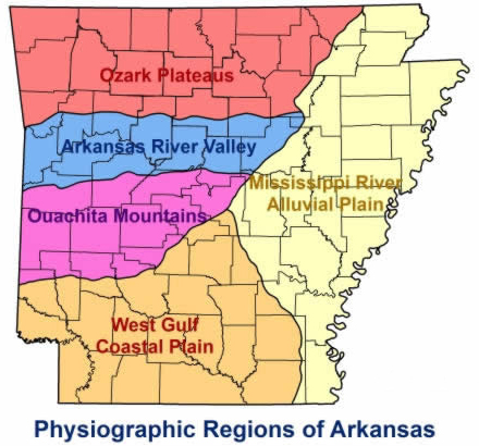 Physiographic regions of Arkansas