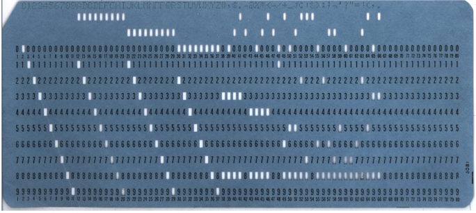Blue Computer Punch Card