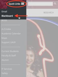 Screenshot of UALR homepage for Blackboard Login.