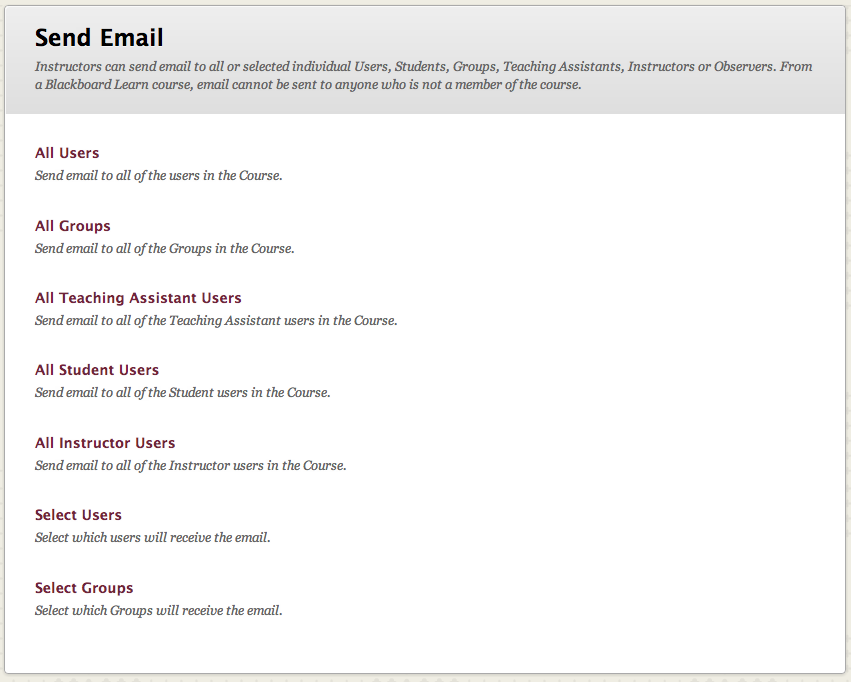 Sending email blackboard student support email options m4hsunfo