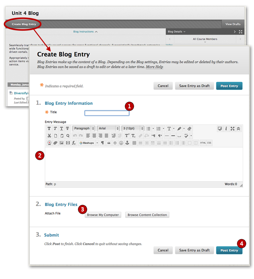 Blogs blackboard student support for How to build a blog