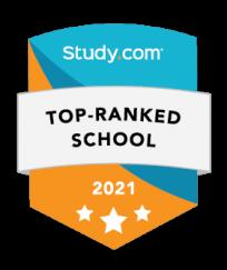 Study dot com Top Ranked School 2021 badge