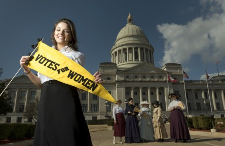 image of AJ Walker completed a service learning appointment with UALR Center for Arkansas History and Culture and conducted research on Florence Cotnam, an Arkansas suffragist. Photographed on February 7, 2017 during the Women's Primary Suffrage Centennial Day celebration at the state capital.