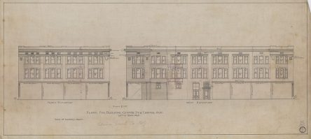 "Digitized version of elevation drawing for ""Plans for Building at Center St & Capitol Ave, Little Rock, Ark"""
