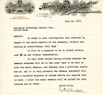 image of correspondence from E. D. Chastain, 42nd General Assembly, expresses his willingness to attend a special session if called by the governor and vote in favor of the 19th amendment without cost or remuneration. He muses that other sates have passed the amendment, and that Arkansas will be in the lower rank and 'lose privilege' if the meeting is not held, and that the majority of the states will have already met by the time of the regular term, making the special session necessary.