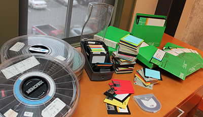 Photo showing lots of type of computer storage media