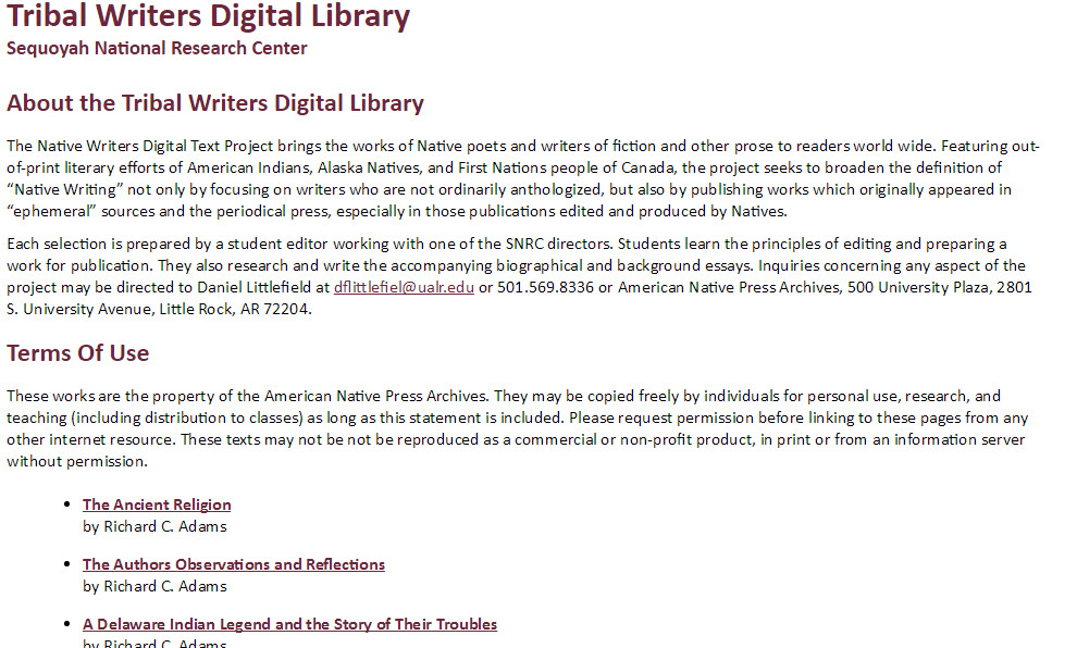 Tribal Writers Digital Library
