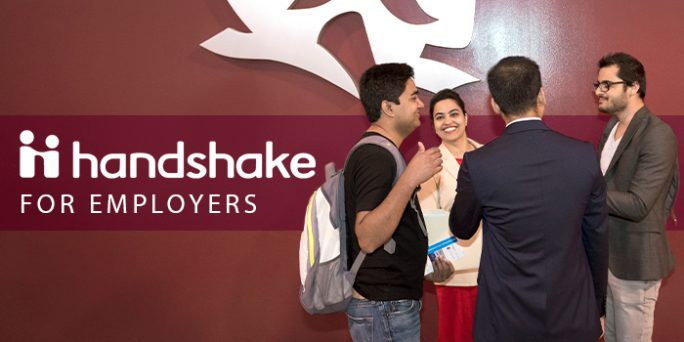 """Photo of students at the Career & Internship Extravaganza and text that reads, Handshake for Employers."""""""