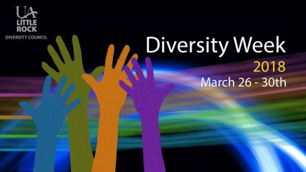 Diversity Week 2018, March 26-30, colorful hands reaching upwards with UA Little Rock Diversity Council logo