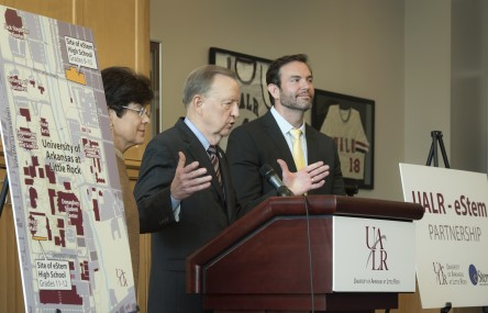 UALR and eSTEM announce innovative partnership during a conference on August 17, 2015.