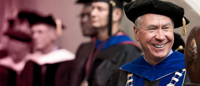 Photo of Chancellor Rogerson smiling at the Fall 2016 commencement ceremony.