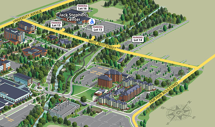 A map highlighting the streets that attendees will take to get to and from the parking lots surrounding the Jack Stephens Center.