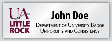Example of UA Little Rock name badge design.