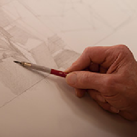 Social media icon showing a hand sketching art.