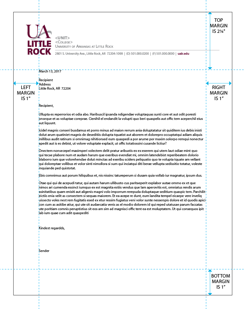 UA Little Rock letterhead template for download.