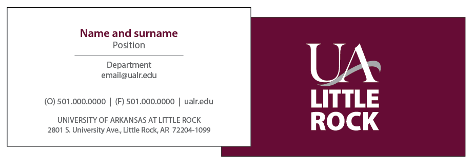 University partnership business card design.