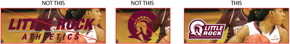 Examples of incorrectly compromising the legibility of the wordmark or logo by placing it over a photograph, compared to a correct example.