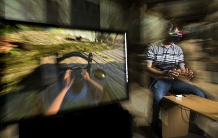 UA Little Rock doctoral student, Juan Munoz, wins audience favorite award in the Leap Motion 3D Jam Competition with his virtual reality app, Potel RVR. Photographed in the Emerging Analytics Center, Engineering and Information Technology Building on February 4, 2016.