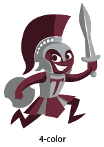 The Trojan graphic in four colors.