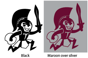 The Trojan graphic in black compared to the Trojan graphic in maroon and silver.