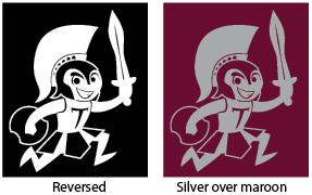 The Trojan graphic in white and black, compared to the Trojan graphic in silver and maroon.