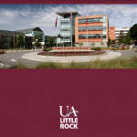PowerPoint template with UA Little Rock branding at a 4x3 aspect ratio.