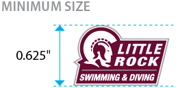 The minimum size of the secondary signature with athletic program is 0.625 inches tall.
