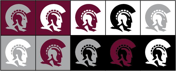 Ten different Trojan logo color variations.