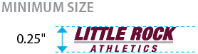 The minimum size of the wordmark is 0.25 inches tall.