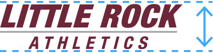 Little Rock Athletics wordmark with guide lines indicating its height.