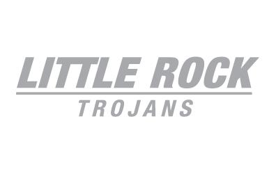Silver Little Rock Trojans wordmark on white background