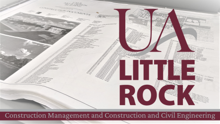 UA Little Rock Logo on top of construction plans with the department name underneath.