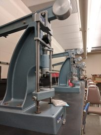 Equipment in the soils lab that construction management and civil engineering faculty use to teach students.