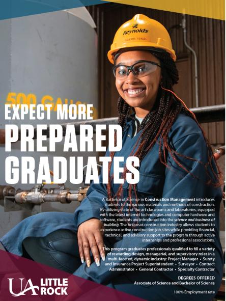 Construction Management Flyer - Expect More Prepared Graduates...100% Employment rate.