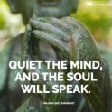 """close up photo of a bronze statue of a person meditatiating with the words """"quiet the mind, and the soul will speak"""""""