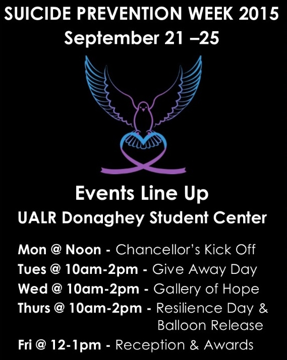 Black background and purple and teal bird holding a heart ribbon logo Events Line Up  UALR Donaghey Student Center      Mon @ Noon - Chancellor's Kick Off     Tues @ 10am-2pm - Give Away Day     Wed @ 10am-2pm - Gallery of Hope             Thurs @ 10am-2pm - Resilience Day &                                    	  Balloon Release     Fri @ 12-1pm - Reception & Awards
