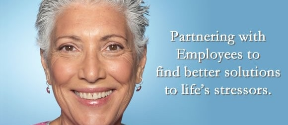 "older woman and text ""partnering with employees to find better solutions to life's stressors."""