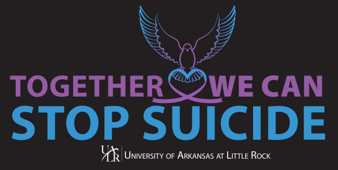 "Black banner with purple and teal ""Together we can stop suicide"" UALR logo University of Arkansas of Little Rock"