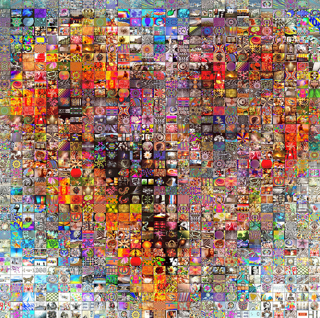 Mashup of images to form a heart design